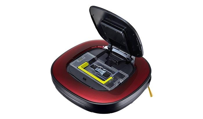 Un bac à poussière facile d'accès sur l'aspirateur LG Hom Bot VSR8600RR